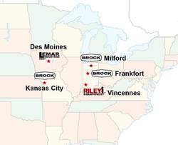 The locations for Brock Grain Systems' manufacturing facilities